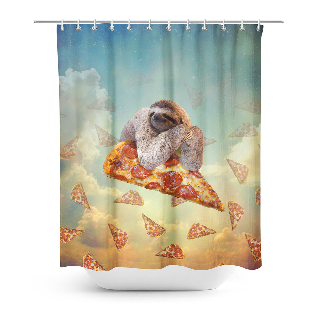 Sloth Pizza Shower Curtain-Gooten-| All-Over-Print Everywhere - Designed to Make You Smile
