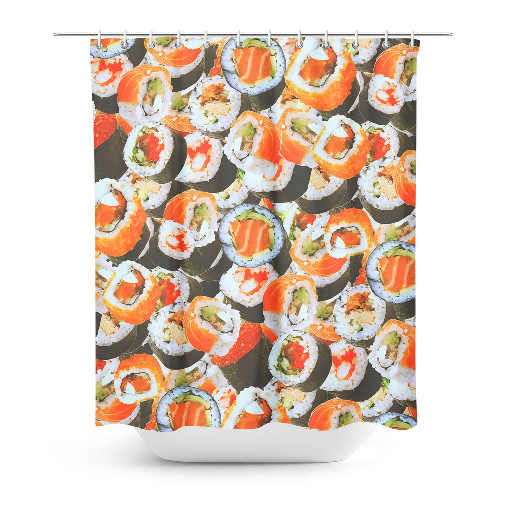 Sushi Invasion Shower Curtain-Gooten-| All-Over-Print Everywhere - Designed to Make You Smile