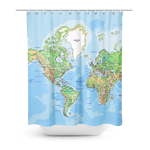 World Map Shower Curtain-Gooten-| All-Over-Print Everywhere - Designed to Make You Smile