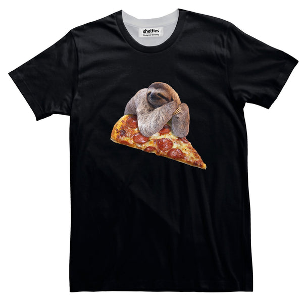 Sloth Pizza Basic T-Shirt-Printify-Black-S-| All-Over-Print Everywhere - Designed to Make You Smile