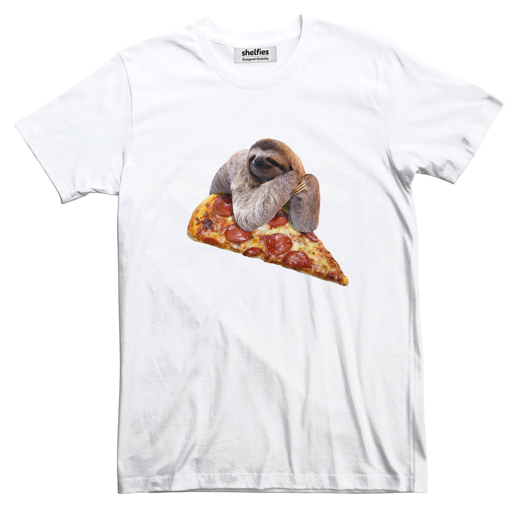Sloth Pizza Basic T-Shirt-Printify-White-S-| All-Over-Print Everywhere - Designed to Make You Smile