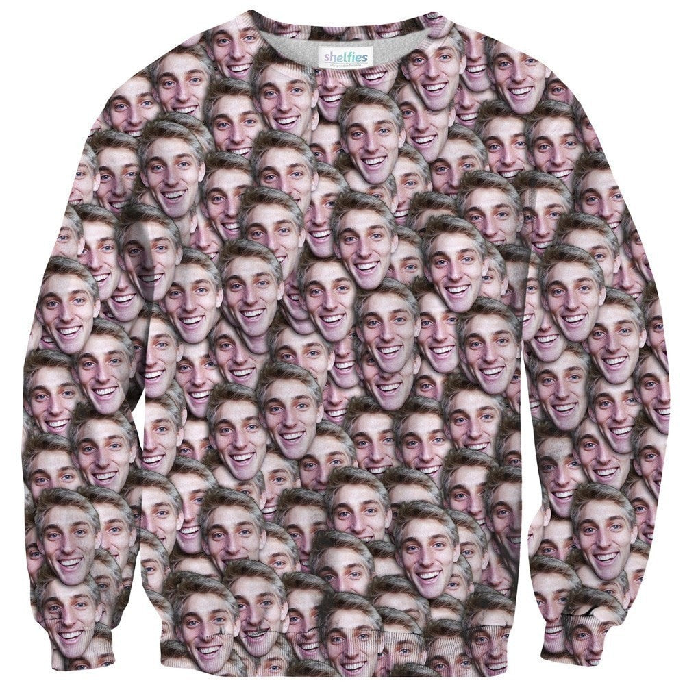 Your Face Custom Sweater-Shelfies-| All-Over-Print Everywhere - Designed to Make You Smile