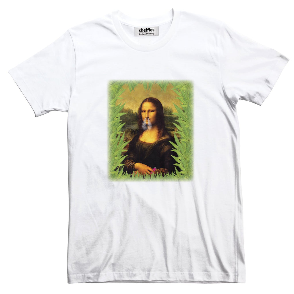 Stoner Lisa Basic T-Shirt-Printify-White-S-| All-Over-Print Everywhere - Designed to Make You Smile