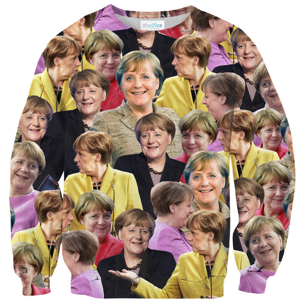 Angela Merkel Face Sweater-Shelfies-| All-Over-Print Everywhere - Designed to Make You Smile