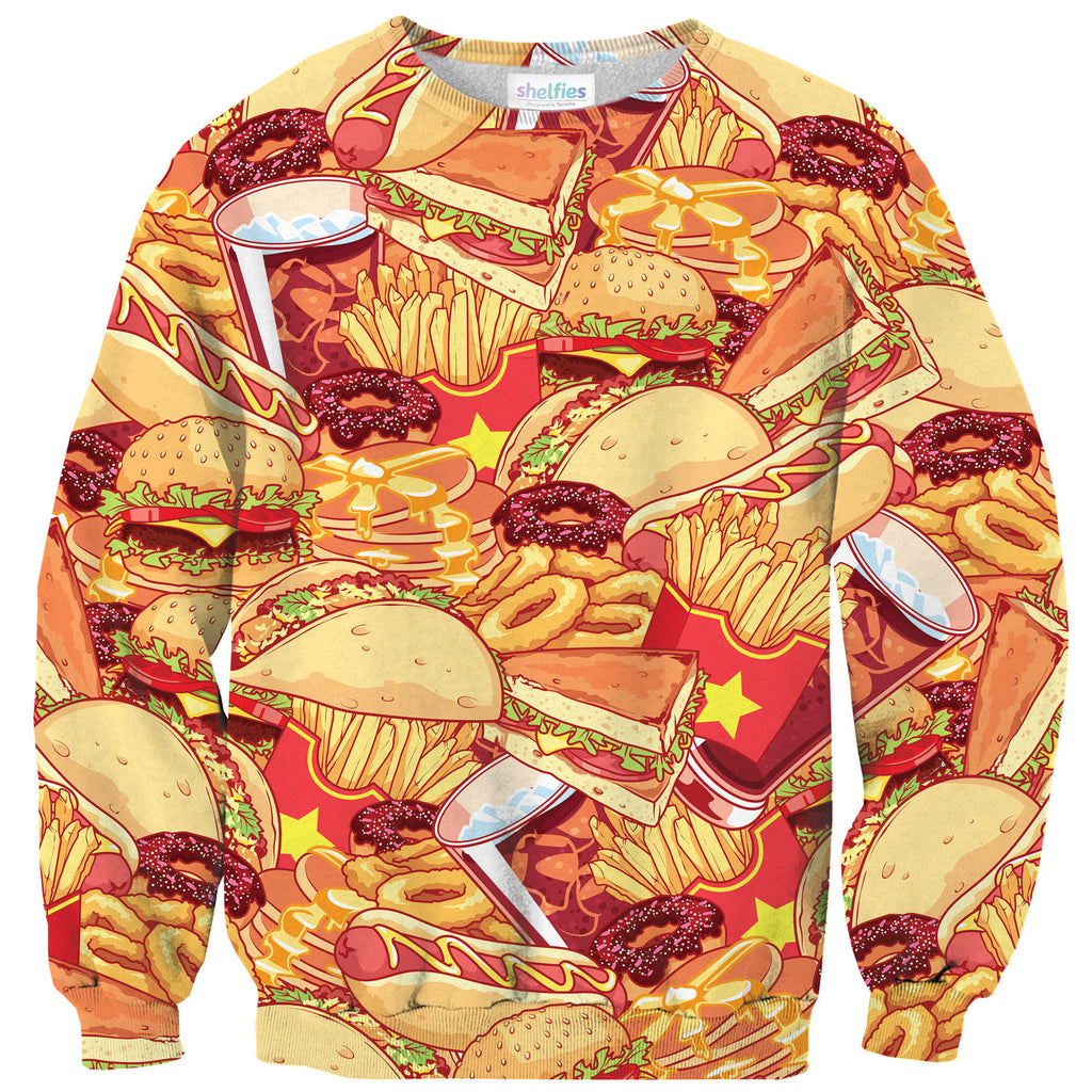 Anime Fast Food Invasion Sweater-Shelfies-| All-Over-Print Everywhere - Designed to Make You Smile