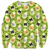 Avo-cat-o Invasion Sweater-Shelfies-| All-Over-Print Everywhere - Designed to Make You Smile