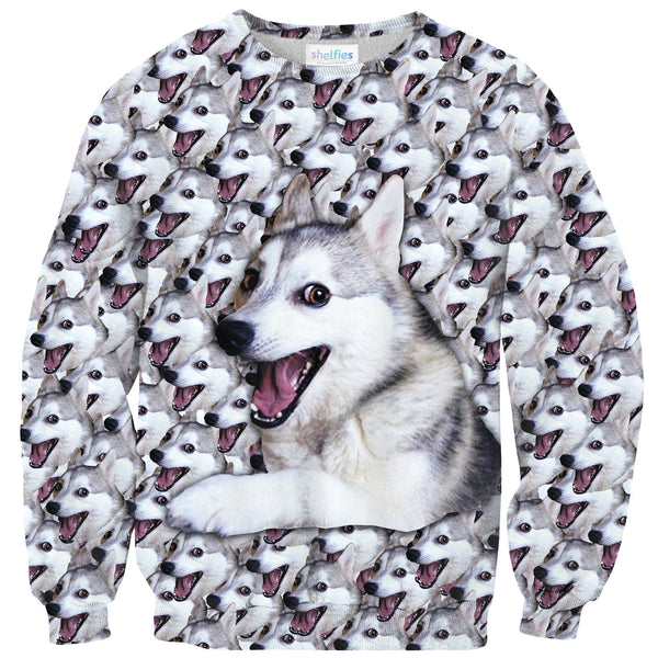 Bad Joke Husky Sweater-Shelfies-| All-Over-Print Everywhere - Designed to Make You Smile