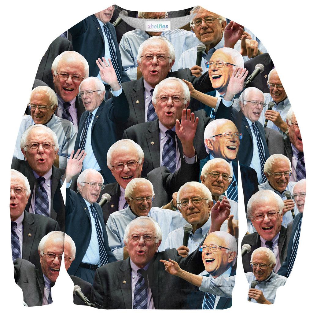 Bernie Sanders Face Sweater-Shelfies-| All-Over-Print Everywhere - Designed to Make You Smile