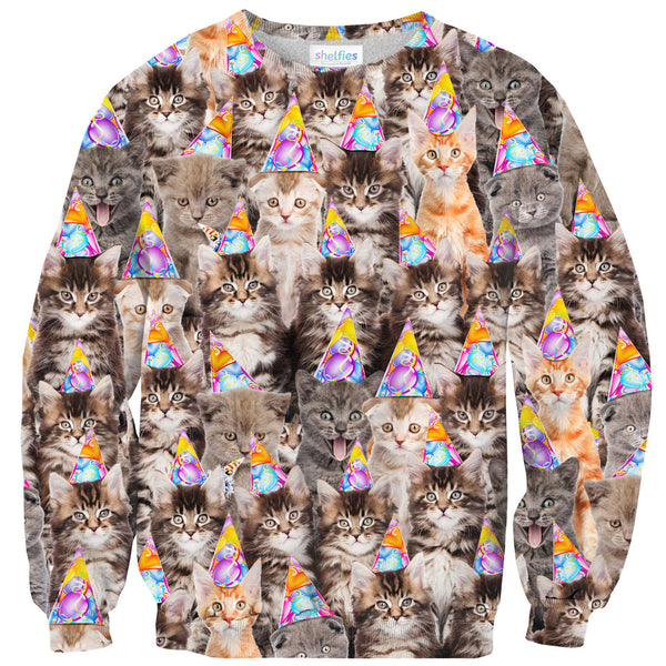 Birthday Cats Sweater-Shelfies-| All-Over-Print Everywhere - Designed to Make You Smile