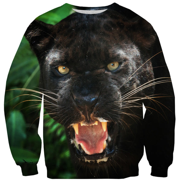 Black Panther Face Sweater-Shelfies-| All-Over-Print Everywhere - Designed to Make You Smile
