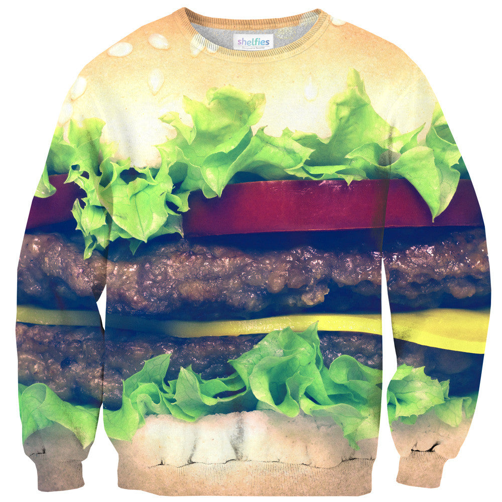 Burger Sweater-Shelfies-| All-Over-Print Everywhere - Designed to Make You Smile