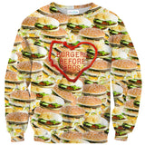 Burgers Before Bros Sweater-Shelfies-| All-Over-Print Everywhere - Designed to Make You Smile