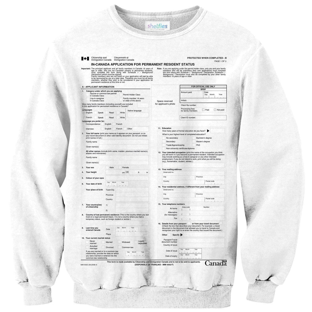 Canadian Immigration Form Sweater-Subliminator-| All-Over-Print Everywhere - Designed to Make You Smile