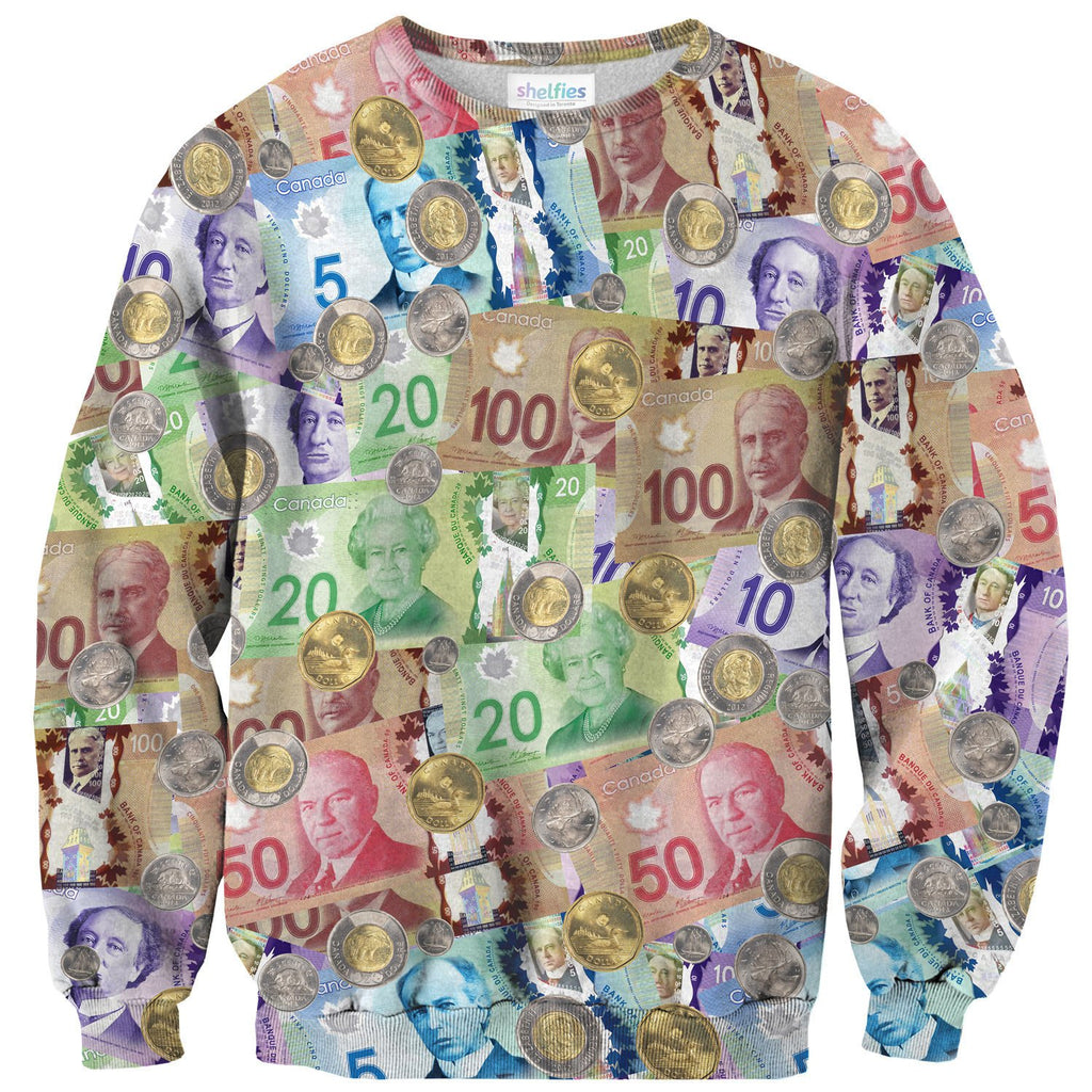 Canadian Money Sweater-Subliminator-| All-Over-Print Everywhere - Designed to Make You Smile