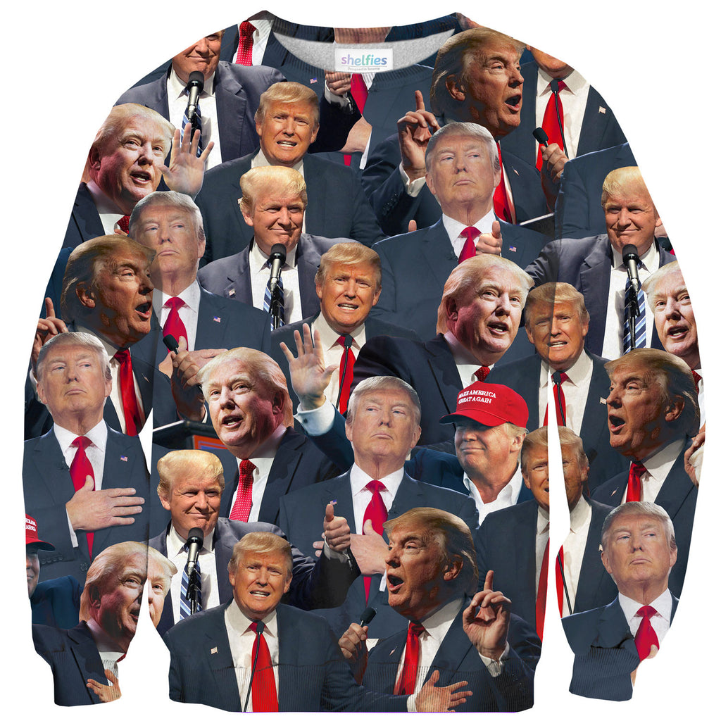 Donald Trump Face Sweater-Shelfies-| All-Over-Print Everywhere - Designed to Make You Smile