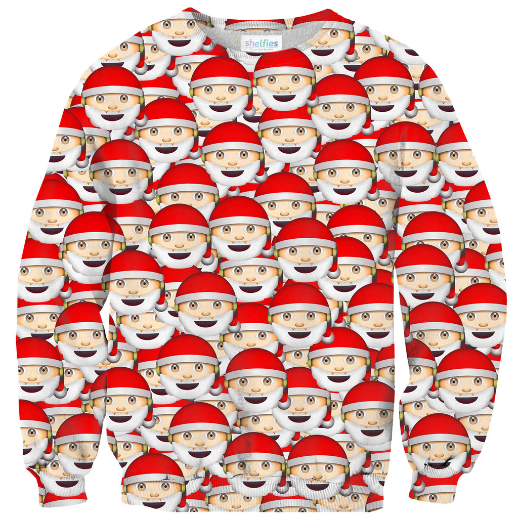 Emoji Santa Invasion Sweater-Shelfies-| All-Over-Print Everywhere - Designed to Make You Smile