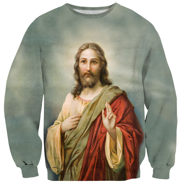 Holy Jesus Sweater-Shelfies-| All-Over-Print Everywhere - Designed to Make You Smile