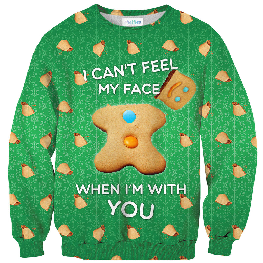 I Can't Feel My Face Sweater-Shelfies-| All-Over-Print Everywhere - Designed to Make You Smile