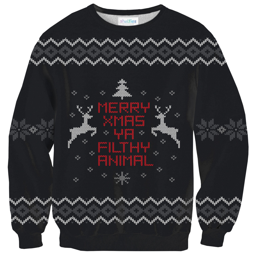 Merry X-Mas Ya Filthy Animal Sweater-Shelfies-| All-Over-Print Everywhere - Designed to Make You Smile