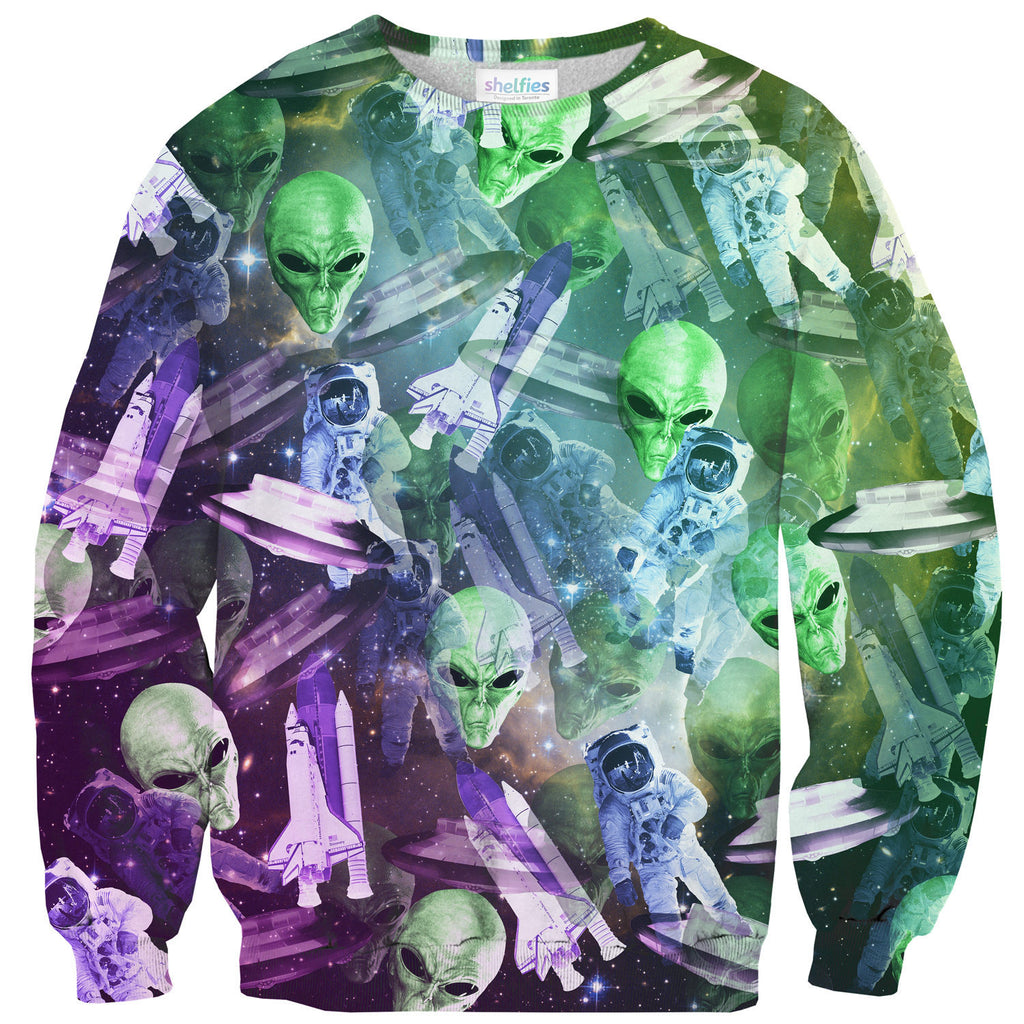 Space Invasion Sweater-Shelfies-| All-Over-Print Everywhere - Designed to Make You Smile
