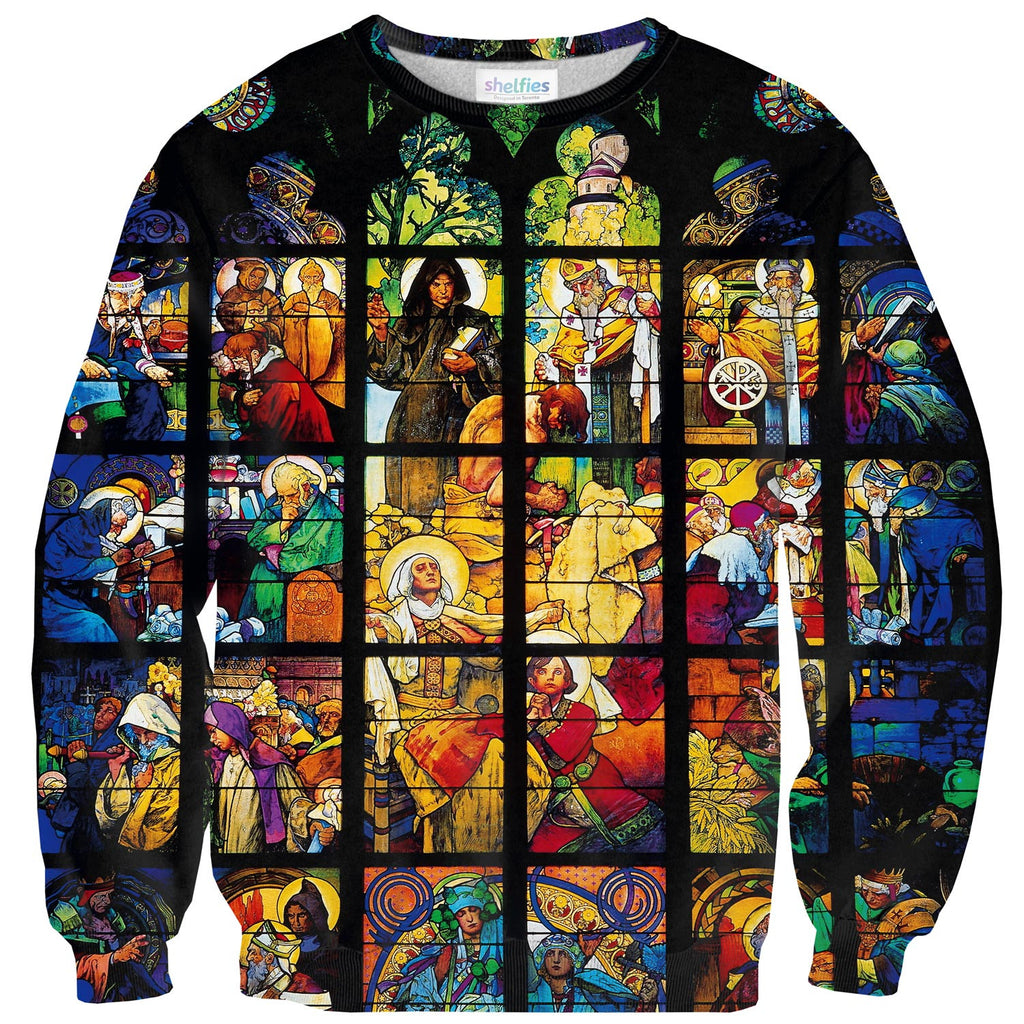 Stained Glass Sweater - Shelfies | All-Over-Print Everywhere - Designed to Make You Smile
