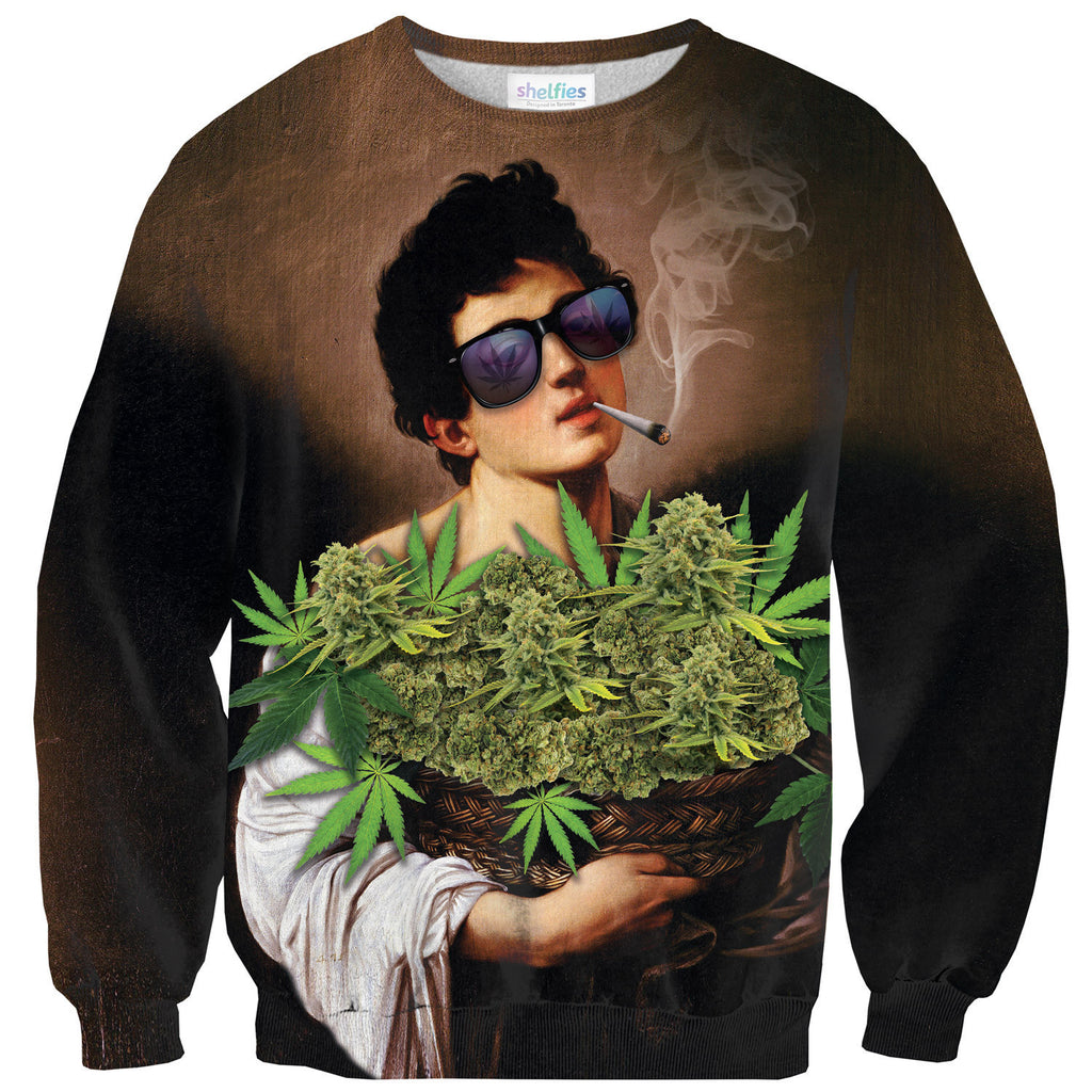 The Boy With A Basket Of Weed Sweater-Shelfies-| All-Over-Print Everywhere - Designed to Make You Smile