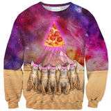 The Great Pyramid of Pizza Sweater-Shelfies-| All-Over-Print Everywhere - Designed to Make You Smile