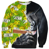 Trap Smoking Gorilla Sweater-Shelfies-| All-Over-Print Everywhere - Designed to Make You Smile