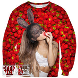 Ariana Grande Strawberry Sweater - Shelfies | All-Over-Print Everywhere - Designed to Make You Smile