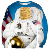 Astronaut Pancakes Sweater - Shelfies | All-Over-Print Everywhere - Designed to Make You Smile