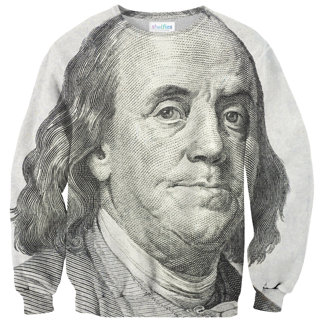 Benjamin Franklin Sweater - Shelfies | All-Over-Print Everywhere - Designed to Make You Smile