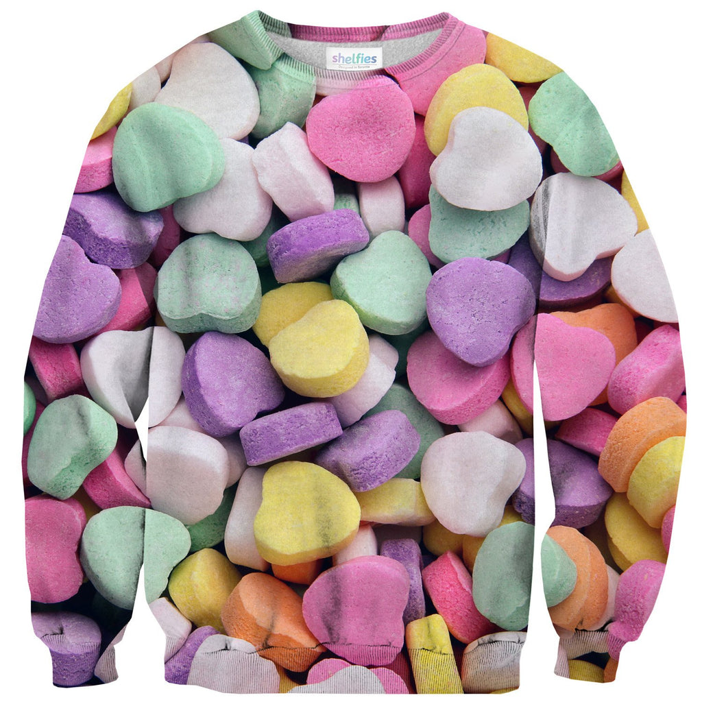 Candy Heart Invasion Sweater-Subliminator-| All-Over-Print Everywhere - Designed to Make You Smile