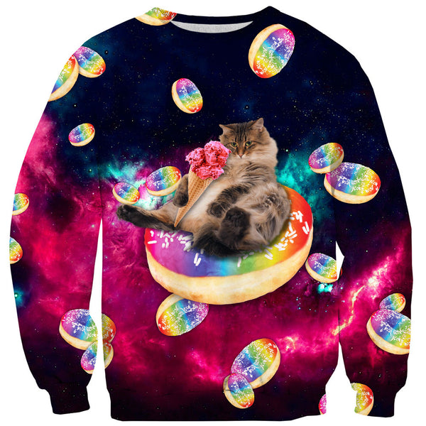 Donut Cat-astrophy Sweater-Shelfies-| All-Over-Print Everywhere - Designed to Make You Smile