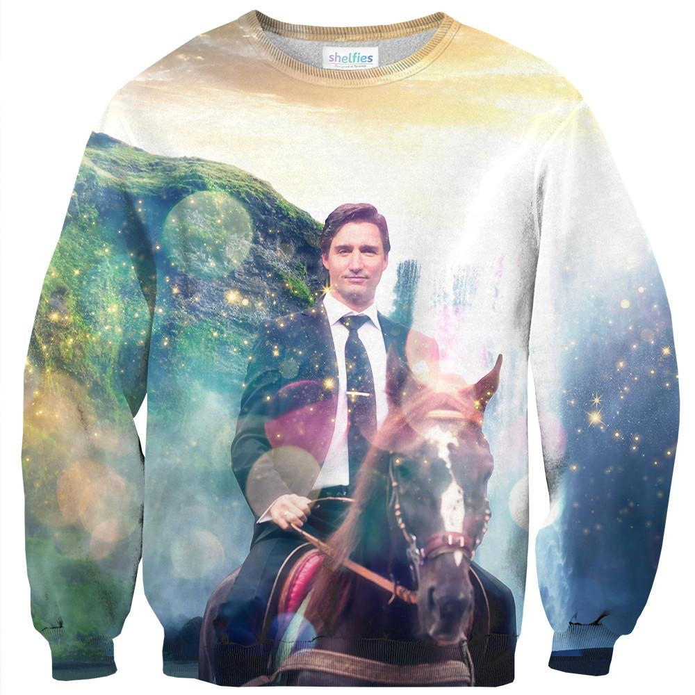 Dreamy Trudeau Sweater-Shelfies-| All-Over-Print Everywhere - Designed to Make You Smile