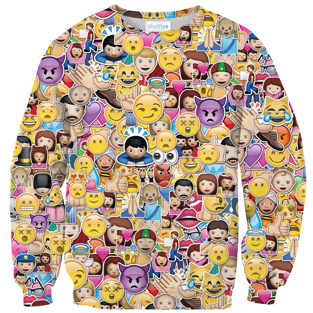Emoji Invasion Sweater - Shelfies | All-Over-Print Everywhere - Designed to Make You Smile