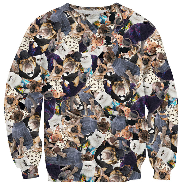 Fashion Pets Invasion Sweater-Shelfies-| All-Over-Print Everywhere - Designed to Make You Smile