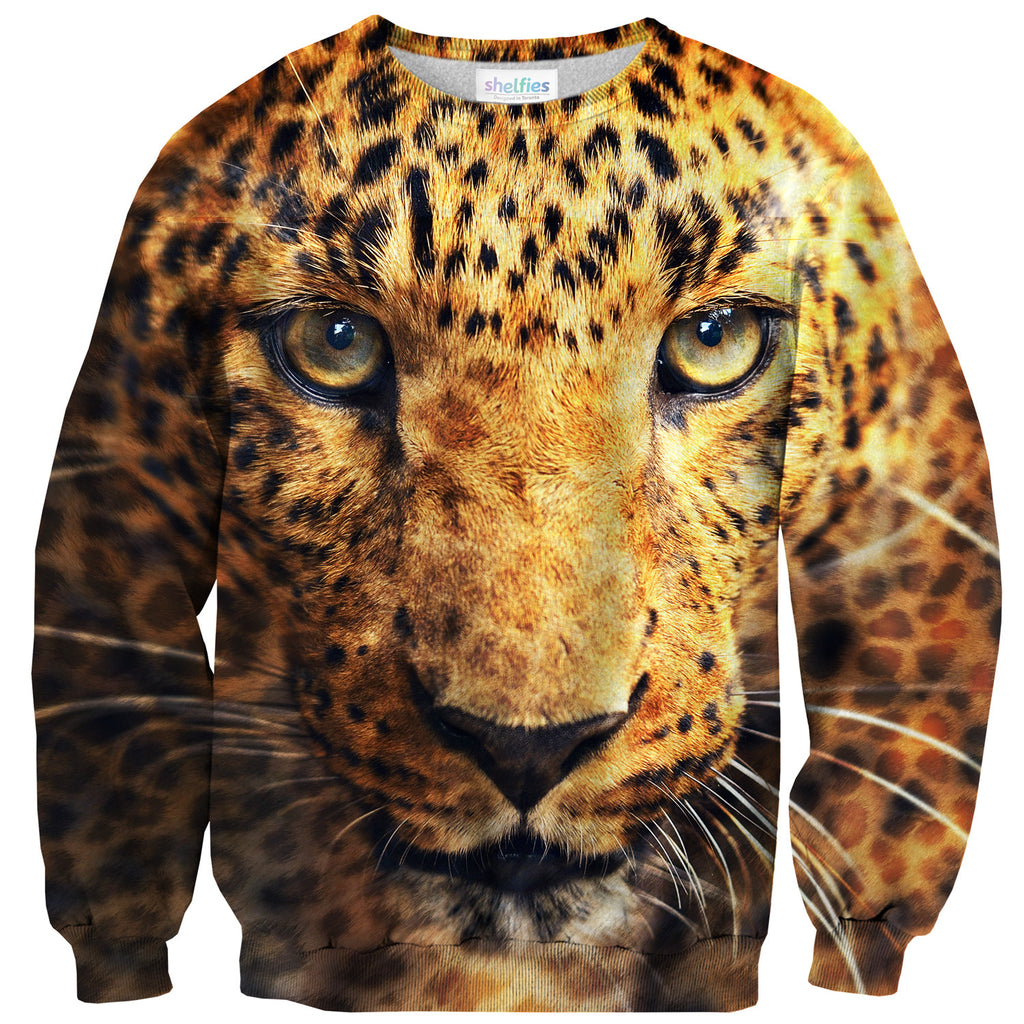 Fierce Leopard Face Sweater-Shelfies-| All-Over-Print Everywhere - Designed to Make You Smile