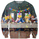 Happy Birthday Jesus (Last Supper Emoji) Sweater-Shelfies-| All-Over-Print Everywhere - Designed to Make You Smile