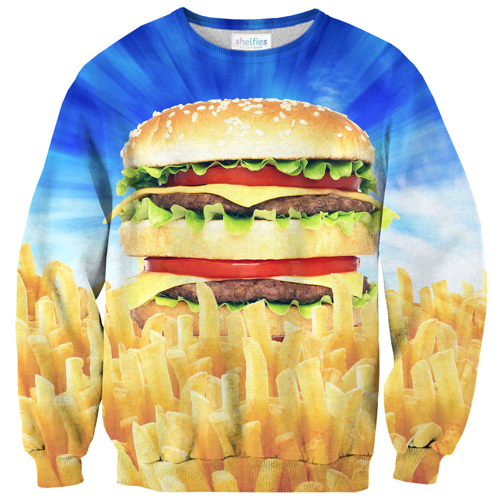 Holy Burger Sweater-Shelfies-| All-Over-Print Everywhere - Designed to Make You Smile