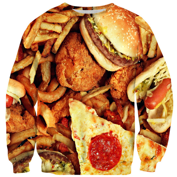 Junk Food Invasion Sweater-Shelfies-| All-Over-Print Everywhere - Designed to Make You Smile