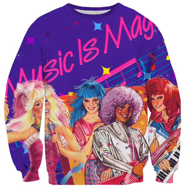 Music is Magic Sweater-Shelfies-| All-Over-Print Everywhere - Designed to Make You Smile