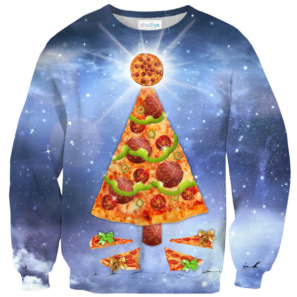 Pizza Christmas Tree Sweater-Shelfies-XS-| All-Over-Print Everywhere - Designed to Make You Smile