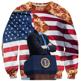 Pizza for President Sweater-Shelfies-| All-Over-Print Everywhere - Designed to Make You Smile