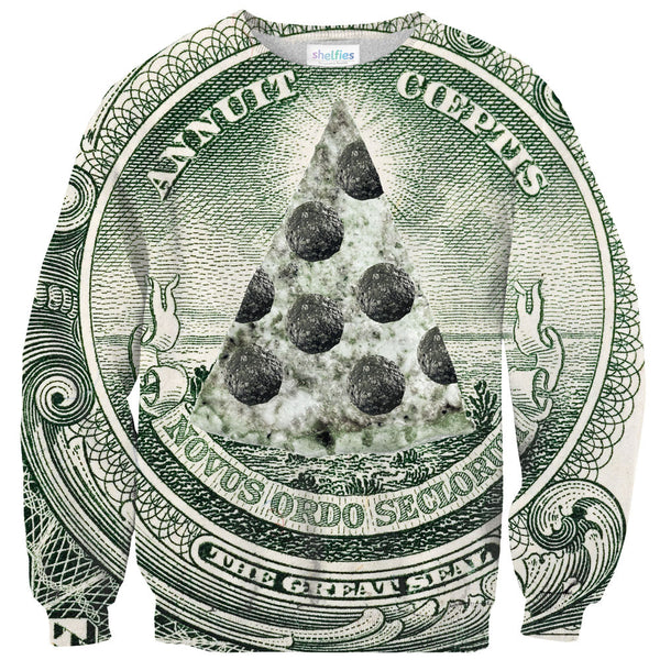 Pizza Illuminati Sweater-Shelfies-| All-Over-Print Everywhere - Designed to Make You Smile