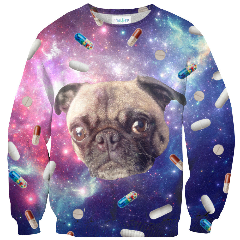 Pugs with Drugs Sweater - Shelfies | All-Over-Print Everywhere - Designed to Make You Smile