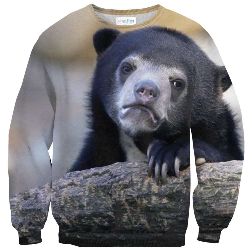 Sad Bear Face Sweater-Shelfies-| All-Over-Print Everywhere - Designed to Make You Smile