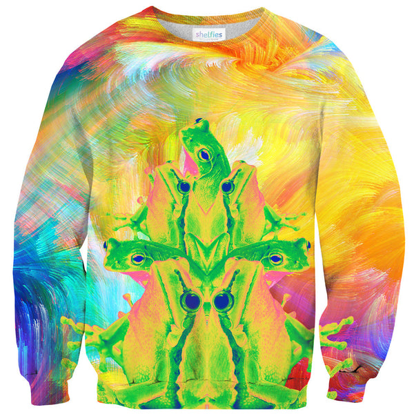 Trippin' Froggy Frog Sweater-Shelfies-| All-Over-Print Everywhere - Designed to Make You Smile