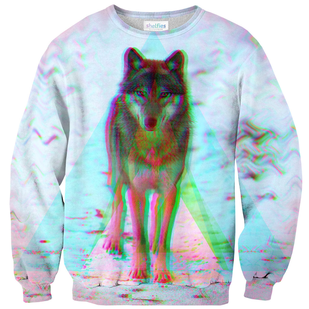 Trippy Wolf Sweater - Shelfies | All-Over-Print Everywhere - Designed to Make You Smile