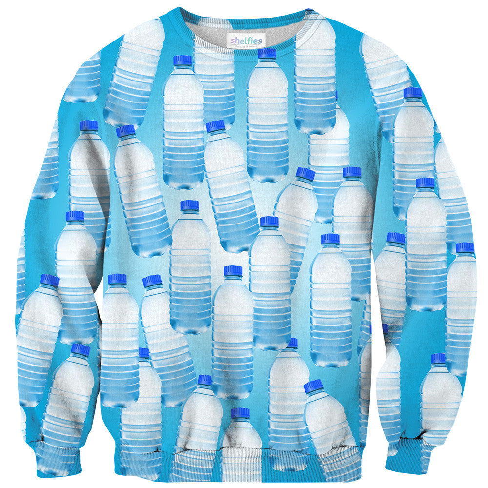 Water Bottle Invasion Sweater-Shelfies-XS-| All-Over-Print Everywhere - Designed to Make You Smile