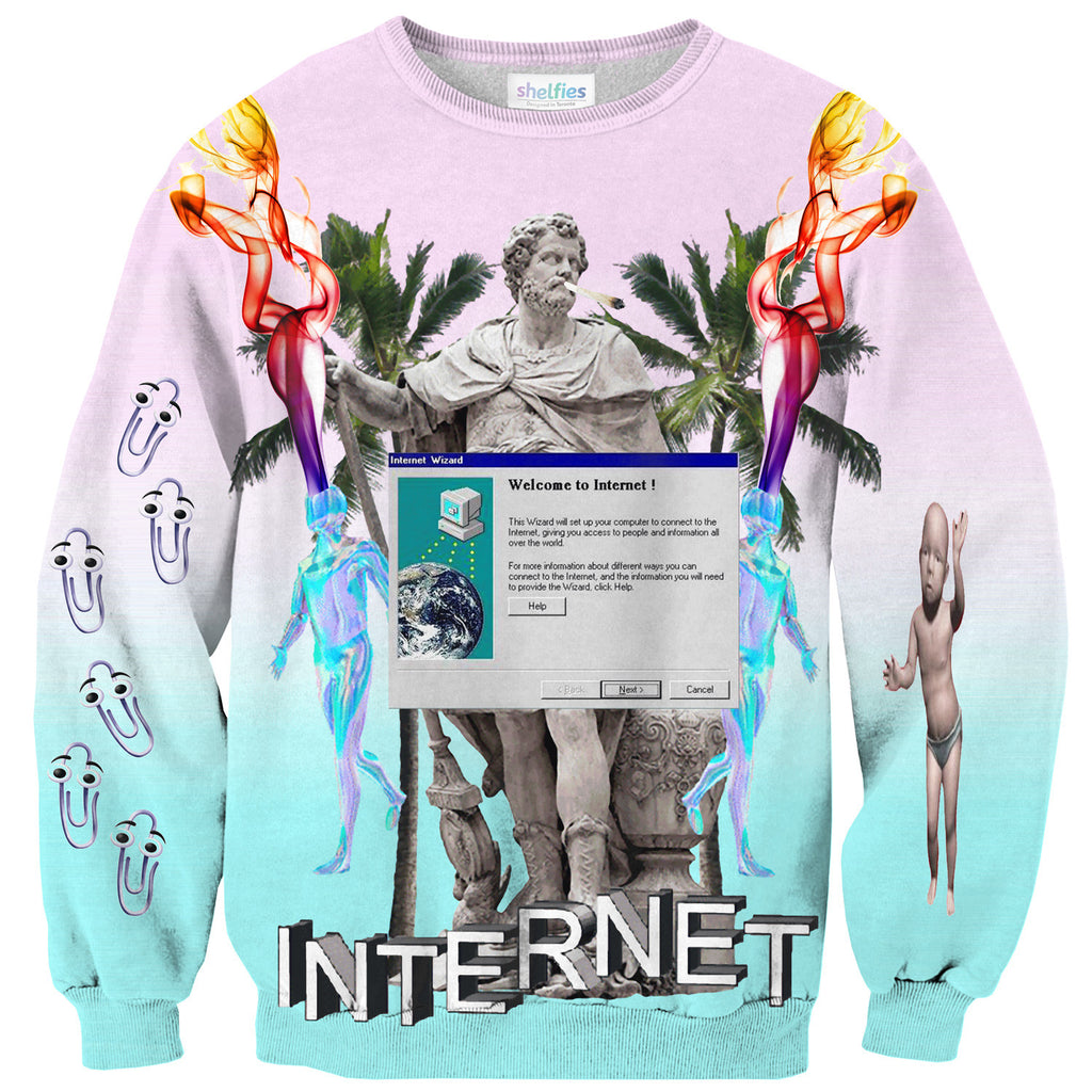 Welcome to the Internet Sweater-Shelfies-| All-Over-Print Everywhere - Designed to Make You Smile